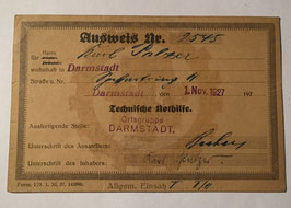 Identification card for the 'Technische Nothilfe'
