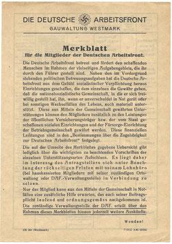 Die deutsche Arbeitsfront - Gauwaltung Westmark - Merkblatt