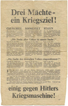 Geallieerd pamflet 'Drei Mächte - ein Kriegsziel!'
