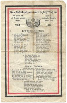Duits patriottisch liederenbundel - 1914