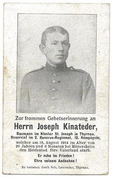 Doodsprentje 'Joseph Kinateder'