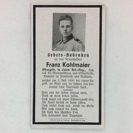Deathcard of 'Franz Kohlmaier'