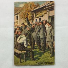German postcard 'Immer feste drauf'