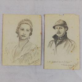 Pencil drawings - King & Queen of Belgium - 1934