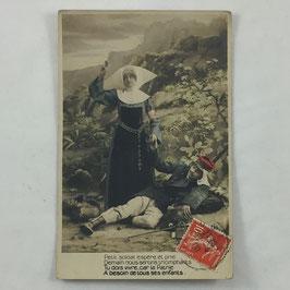 French Postcard 'Petit soldats espère et prie Demain nous serons triomphants Tu dois vivre, car la Patrie A besoin de tous ses enfants'