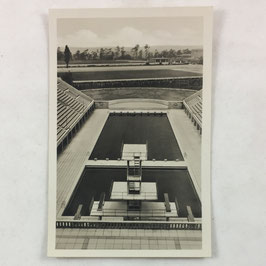 German postcard 'Reichssportfeld - Blick von der Deutschen Kampfbahn auf das Schwimmstadion'