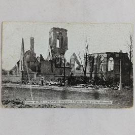 Guerre de 1914 - Pervyse (Belgique) L'Eglise détruite par les Allemands