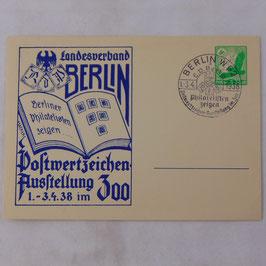 German postcard 'Landesverband Berlin Postwertzeichen Ausstellung 1.-3.4.38'