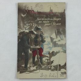 French Postcard 'Sur la crête des Vosges en route pour l'Alsace'