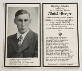 Deathcard of 'Alois Urlberger'