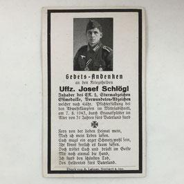 Deathcard of 'Uffz. Josef Schlögl'