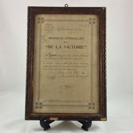 French award document for the Inter-Allied Victory Medal