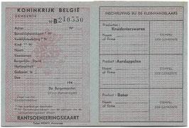 Koninkrijk België - Rantsoeneeringskaart - 1944/45