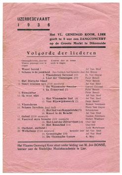 Ijzerbedevaart 1936 - pamflet volgorde der liederen