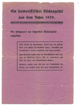 Ein humoristischer Küchenzettel aus dem Jahre 1939'