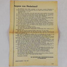 Pamflet Nederlands verzet - Burgers van Nederland! - 1945