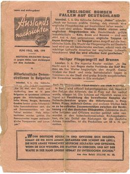 Russisch pamflet 'Auslandsnachrichten Juni 1942 Nr. 199'