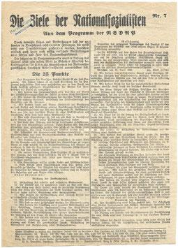 Pamflet 'Die Ziele der Nationalsozialisten' - 1920