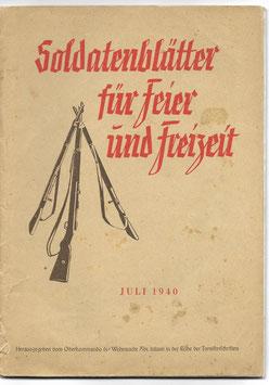 Soldatenblätter für Feier und Freizeit - Juli 1940