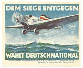 Duits verkiezingsvignet 'Dem Siege entgegen - Wählt Deutschnational'
