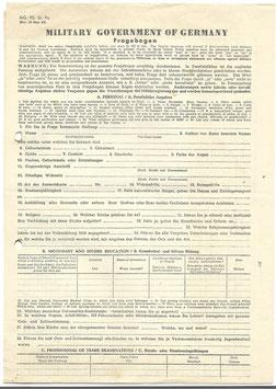 Vragenlijst van het 'Military Government of Germany' met bijkomende brief