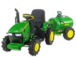 Traktor mit Luftreifen und Güllefass - grün