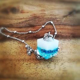 """Muttermilchanhänger """"IceCUBE"""" kombiniert mit Perlen"""