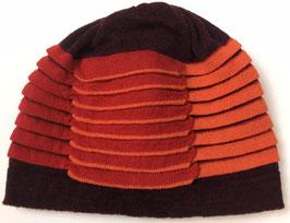 Muts flapplooi wol d.rood,rood oranje
