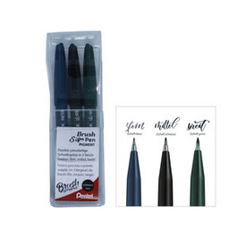 PENTEL BRUSH SIGN PEN 3ER SET PIGMENT