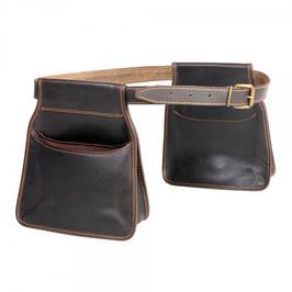 Pareja de bolsas ojeo largas con cinturón en piel de bovino (ribeteada)