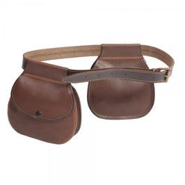 Pareja de bolsas de ojeo redondas con cinturón en piel de serraje engrasada
