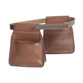 Pareja de bolsas ojeo largas con cinturón en piel de serraje engrasada (ribeteada)