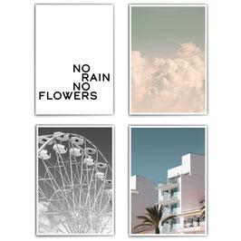 Rain & Flowers - 4er Poster Set