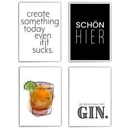 Schöner Gin - 4er Poster Set