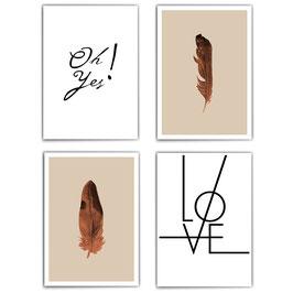 I Love Feathers - 4er Set