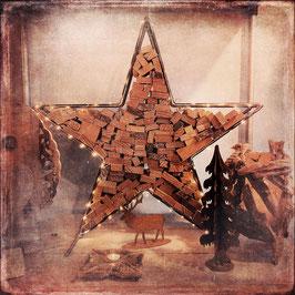 Metalen ster met haardhout h.80cm