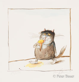 Peter Bauer - O.T. (Katze leckt Eis)