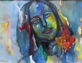 Veronika Emendörfer - Frau mit roter Blüte