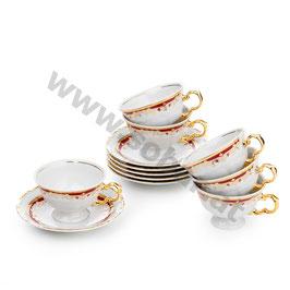 Maria Luoise Rot Teepaar für 6 Person