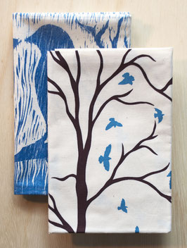 For the Birds kitchen towels set of 2: woodsy love birds + flying birds
