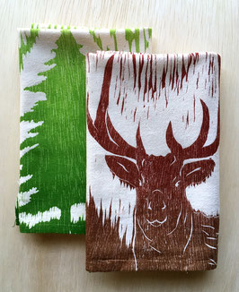 Two Elk + four trees woodcut kitchen towel set