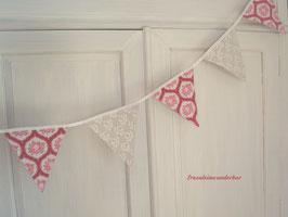 Fräulein Wunderbar liebt Wimpelketten ♥, Wimpel klassisch, groß, rot/ weiß/ rosa/ natur