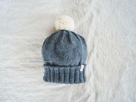 Fräulein Wunderbars Bommelmütze Inga mit doppeltem Bund (offen), jeansblau-dunkelgrau/ cremeweiß