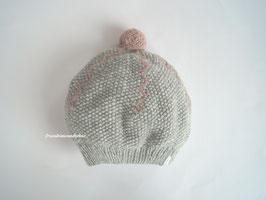 Für große Fräuleins -Beanie  Leni, mit Pompon und Stickerei, graugrün/ vintage rosa