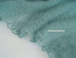 Wunderbarer Neugeborenen-Wrap mit Sahnetupferlbordüre, Seegrün (dunkel)