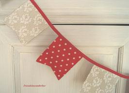 Fräulein Wunderbar liebt Wimpelketten ♥, rot/ creme/ natur