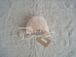 Fräulein Wunderbars zartes Babyhäubchen Sahnetupferl für die Babyfotografie, Puderrosa