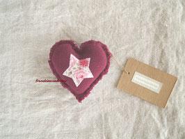 Fräulein Wunderbars Dekoherz für die Babyfotografie, mit Applikation und Fransenrand, bordeaux/ weiß/ rosa