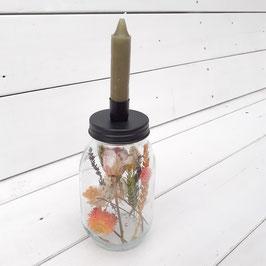 LILY - glazen pot met kaarsenhouder en een kaars