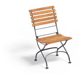 WEISHÄUPL Classic Stuhl geschwungene Latten - Graphitgrau und Teakholz